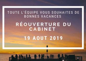 Fermeture estivale du 29 Juillet 2019 au 19 Aout 2019
